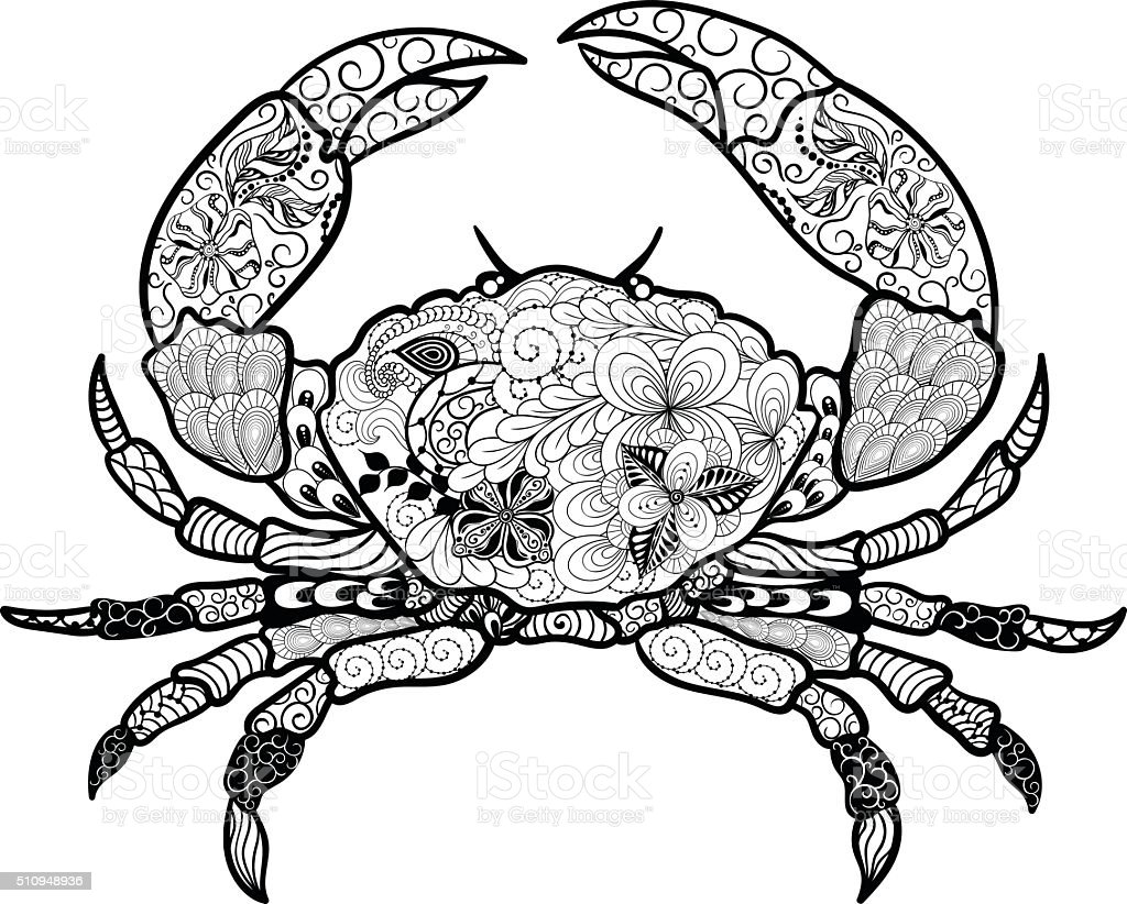Crab Doodle Stock Vector Art & More Images of Abstract 510948936 ...