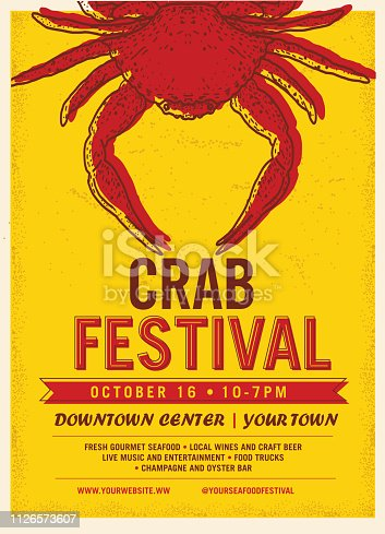 Vector illustration of a Seafood Festival advertisement poster design template. Includes bright colors. Hand drawn crab. Sample placement text. Easy to edit with layers.