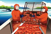 A vector illustration of crab fishermen catching crabs in the sea