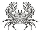 Crab icon. Vector hand drawn crab