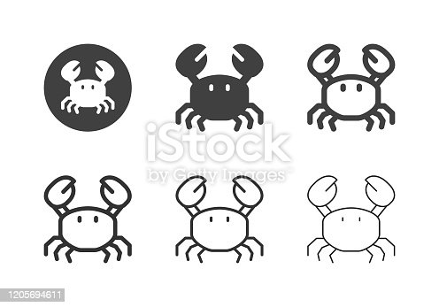 Crab Icons Multi Series Vector EPS File.