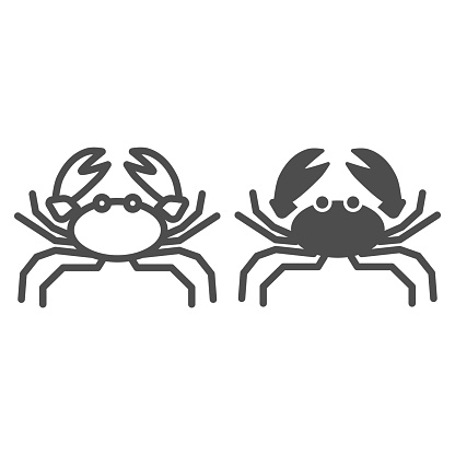 Crab line and solid icon, marine life concept, marine seafood sign on white background, Crab silhouette icon in outline style for mobile concept and web design. Vector graphics.