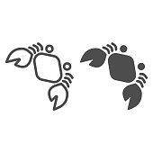 Crab line and solid icon, nautical concept, marine seafood sign on white background, Crab silhouette icon in outline style for mobile concept and web design. Vector graphics
