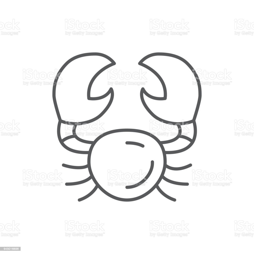 Crab line editable pixel perfect icon isolated on white background - outline sea and ocean wildlife underwater animal or seafood simple silhouette. vector art illustration