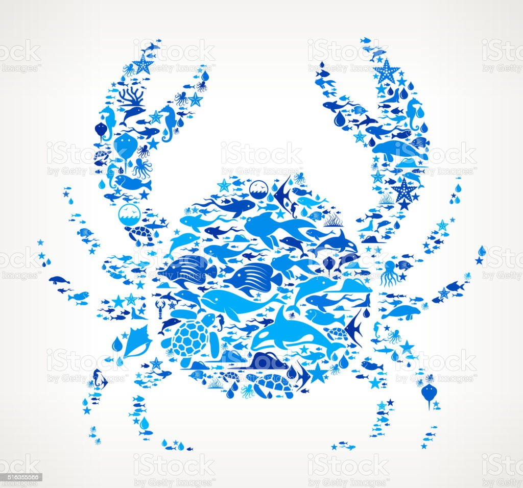 Crab Ocean and Marine Life Blue Icon Pattern vector art illustration