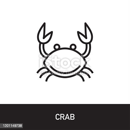 Crab Outline Icon Design. Modern Vector Illustration isolated on white background with subtitle
