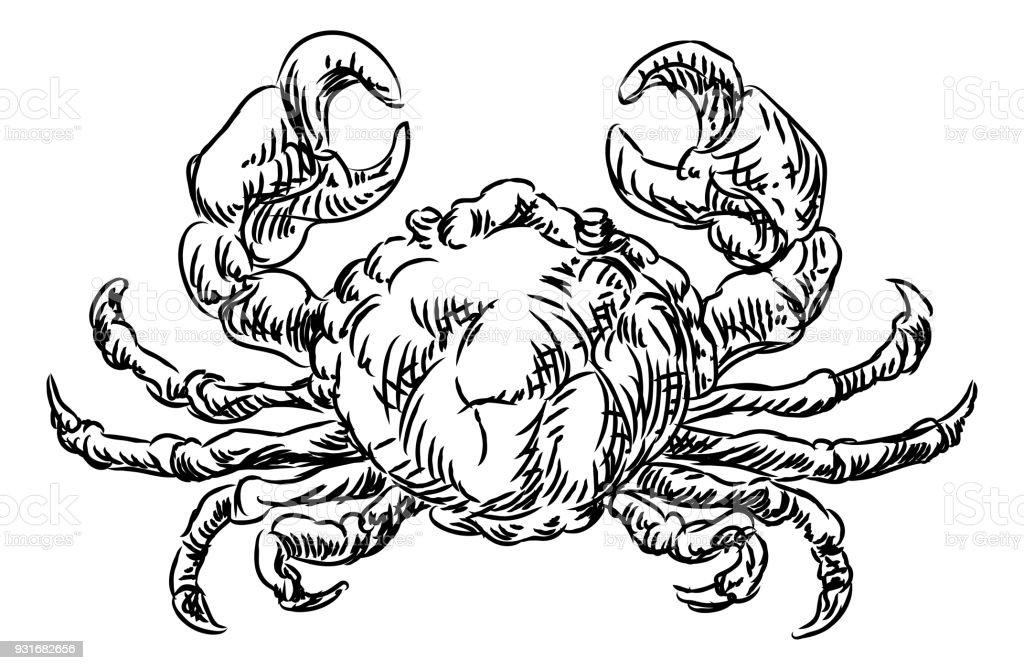 Crab Seafood Food Grunge Style Hand Drawn Icon vector art illustration
