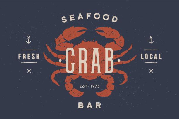 bildbanksillustrationer, clip art samt tecknat material och ikoner med krabba, skaldjur, logo typ teamplate. vintage logo typ med krabba silhuett - krabba