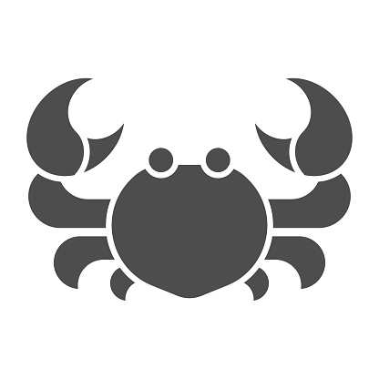 Crab solid icon, marine life concept, seafood sign on white background, Cab silhouette icon in glyph style for mobile concept and web design. Vector graphics.