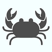 Crab solid icon. Seafood Crab shop logo illustration isolated on white. Sea crustacean with a broad carapace and five pairs of legs glyph style design, designed for web and app. Eps 10