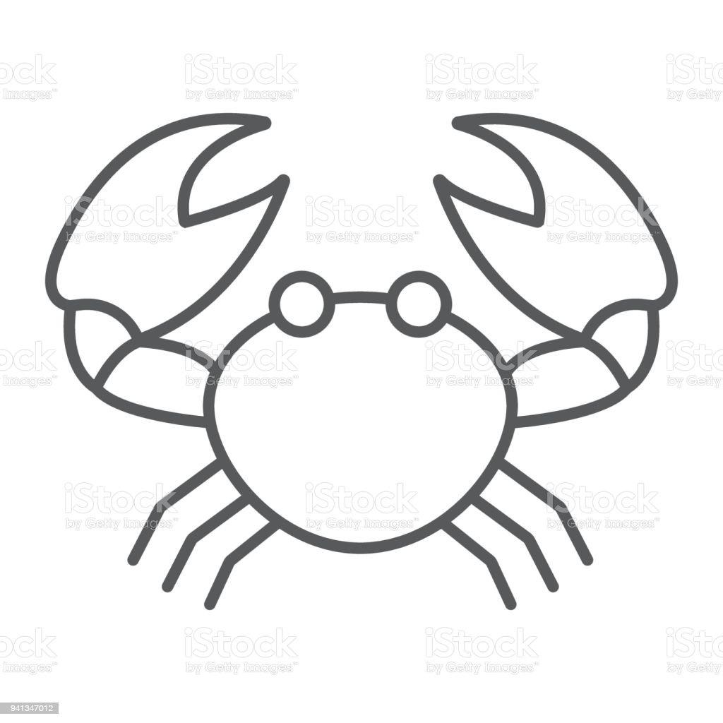 Ilustración de Icono De Línea Fina Animal El Cangrejo Y Signo ...