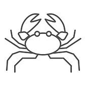 Crab thin line icon, marine life concept, marine seafood sign on white background, Crab silhouette icon in outline style for mobile concept and web design. Vector graphics