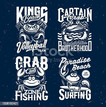 Crab t-shirt print mockups, sea food crustacean