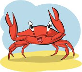 Vector illustration of a crab. No gradients used. Objects grouped for easy editing. Created with AI CS3.
