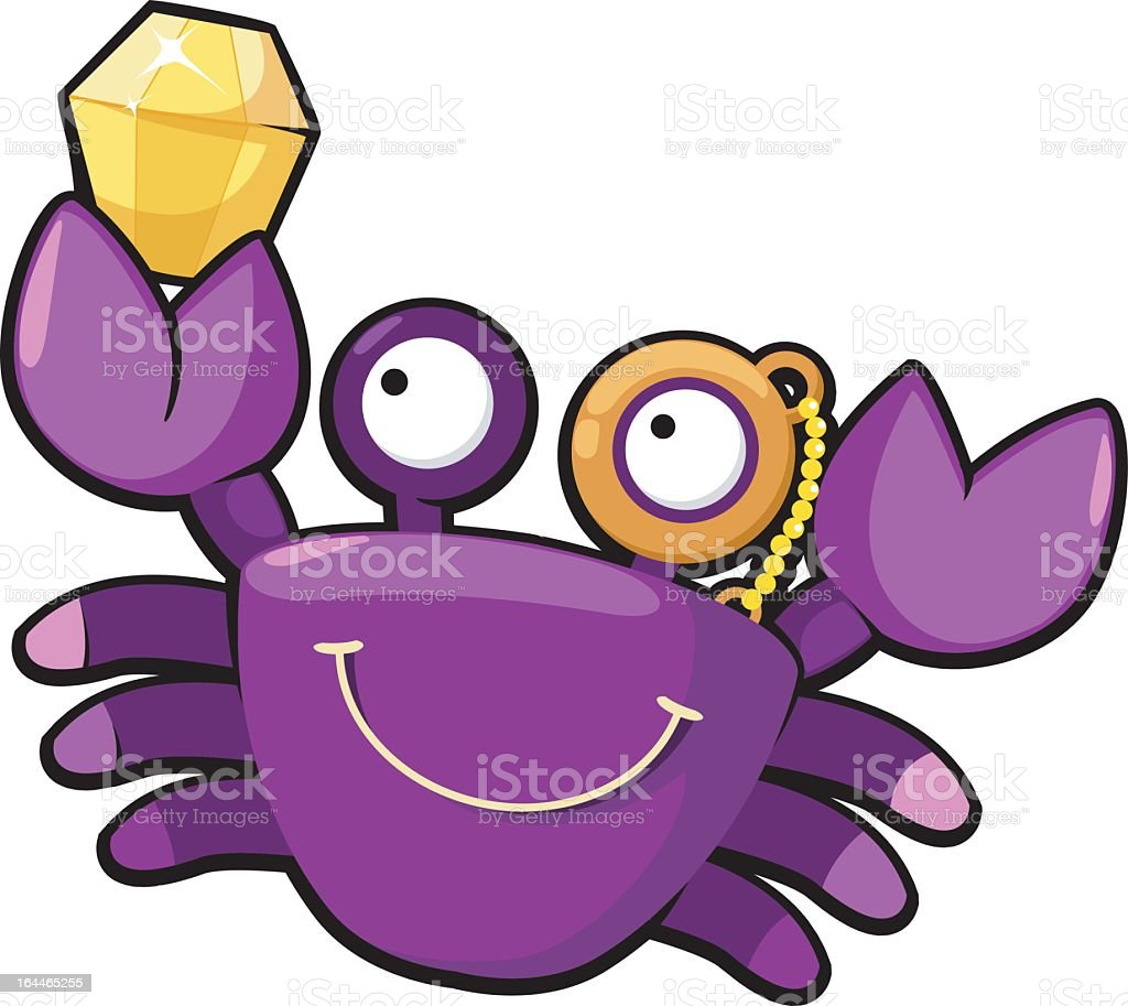 crab with diamond vector royalty-free stock vector art