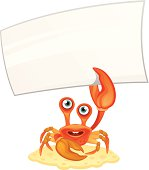 Crab with message on a white background