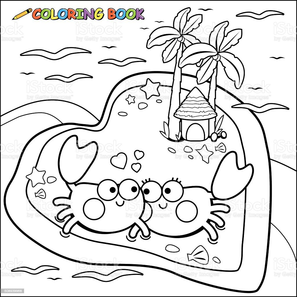 Crabs Walking On The Beach Coloring Book Page Stock Vector Art ...