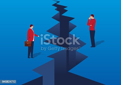 A crack appeared in front of the businessman