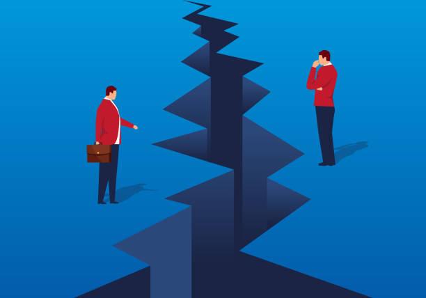 stockillustraties, clipart, cartoons en iconen met een spleet verscheen voor de zakenman - relatieproblemen