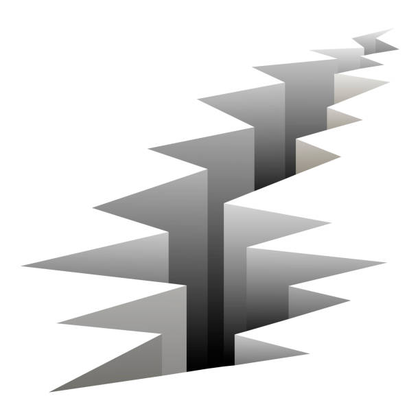 crack fault line in ground vector illustration. crack in ground after earthquake, crack on surface. - communication problems stock illustrations, clip art, cartoons, & icons