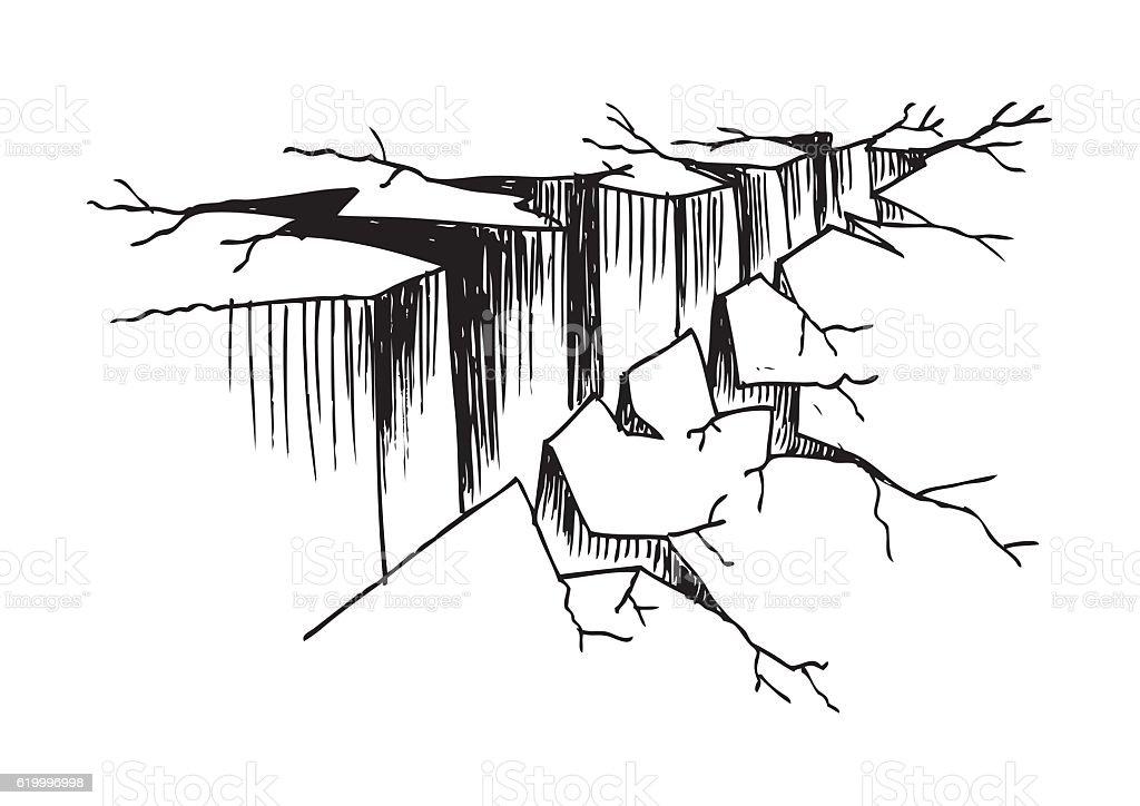 Crack ground. Sketch. vector art illustration
