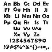 Set of black cracked alphabet and number isolated on white background