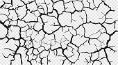 Cracked barren desert earth on transparent background