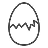 istock Cracked egg line icon. Hatch the chicken outline style pictogram on white background. Happy Easter traditional broken egg gift for mobile concept and web design. Vector graphics. 1217222280