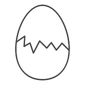 Cracked egg thin line icon. Hatch the chicken outline style pictogram on white background. Happy Easter traditional broken egg gift for mobile concept and web design. Vector graphics