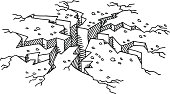 Hand-drawn vector drawing of a Cracked Floor Damage. Black-and-White sketch on a transparent background (.eps-file). Included files are EPS (v10) and Hi-Res JPG.
