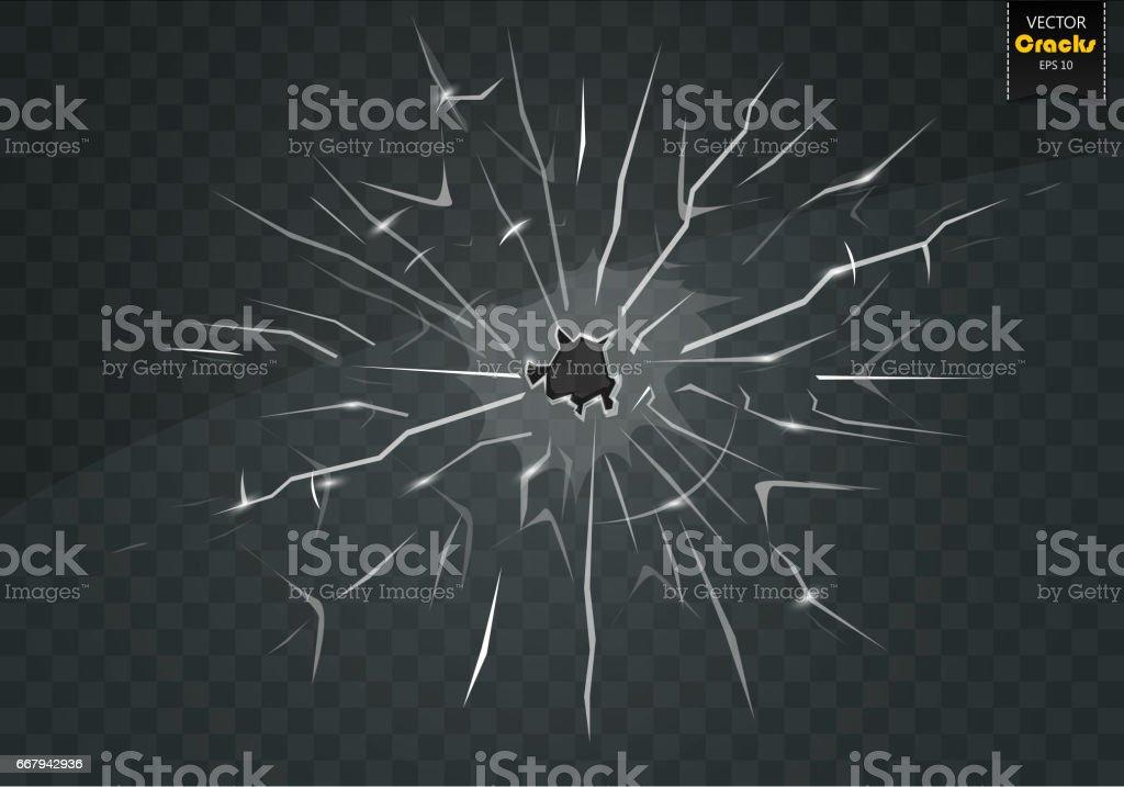 Gebrochene Glas auf einem transparenten Hintergrund. – Vektorgrafik