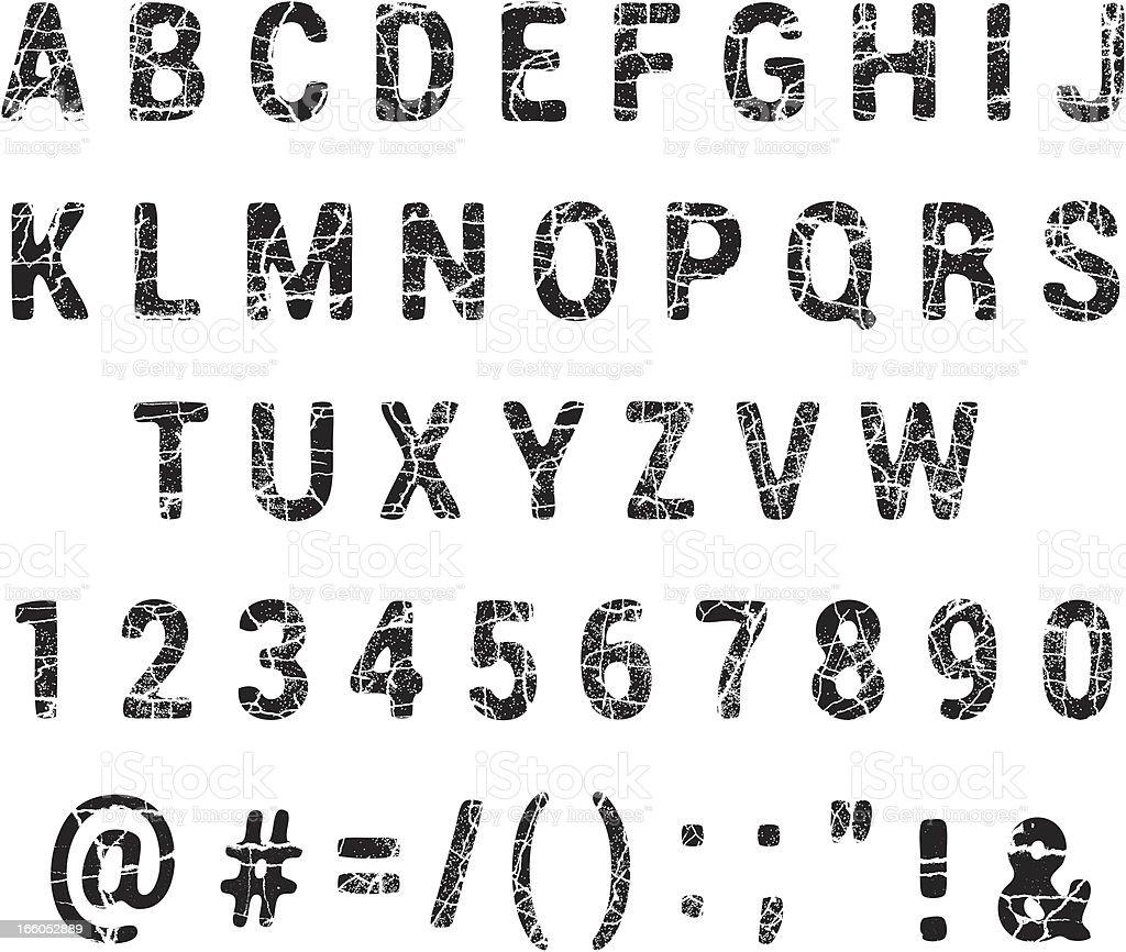 Cracked Grunge Alphabet royalty-free stock vector art