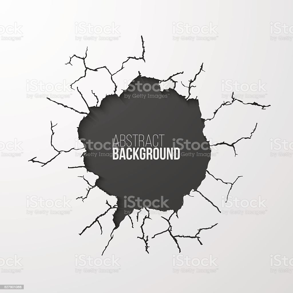 Cracked hole in the wall banner with space for text vector art illustration