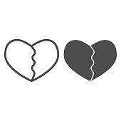 Cracked or broken heart line and solid icon. Heartbreak, two part of love shape symbol, outline style pictogram on white background. Valentine day sign for mobile concept, web design. Vector graphics