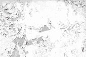 Old cracked painted wall vector background. Grunge black and white texture template for overlay artwork.