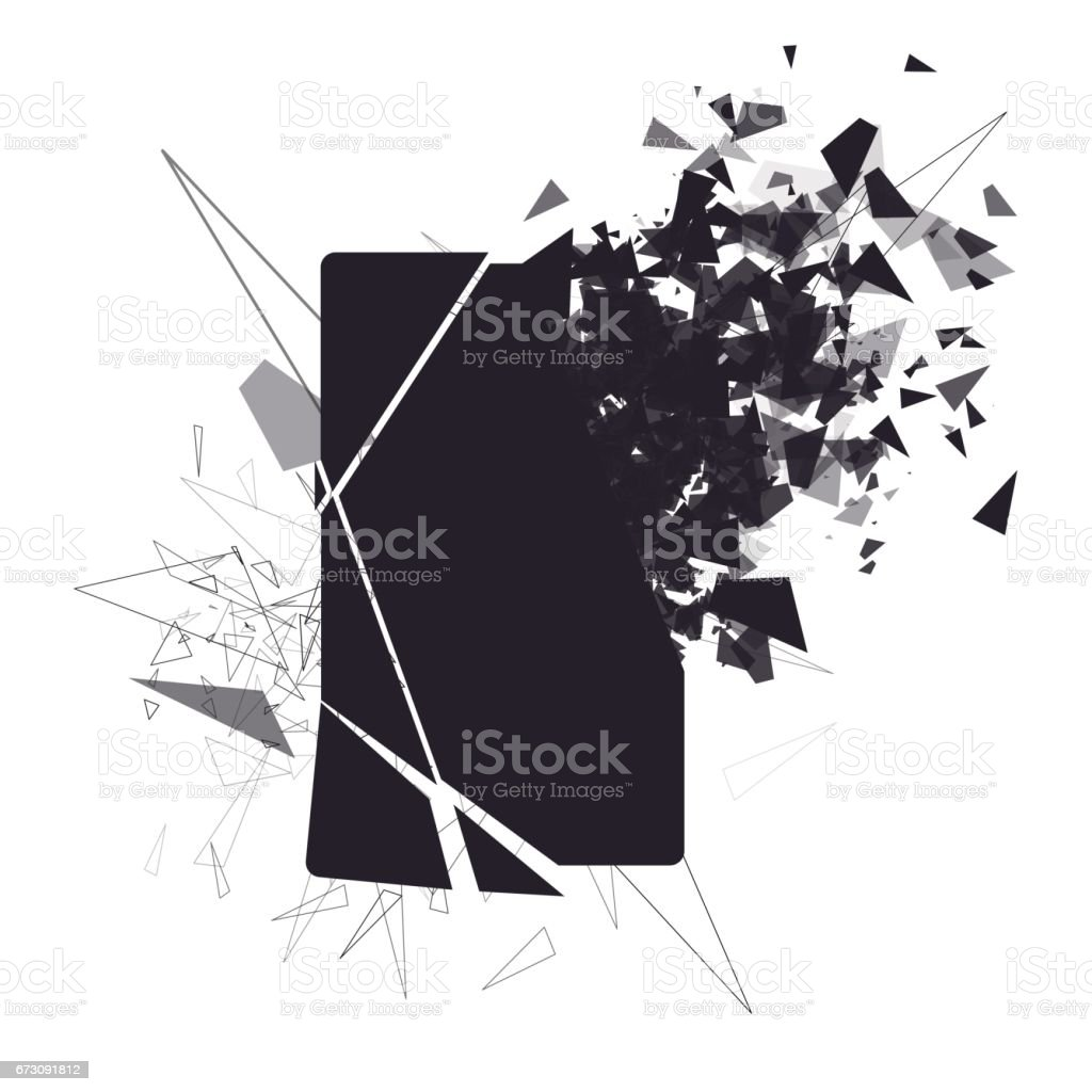 Cracked phone screen shatters into pieces. Broken smartphone split by the explosion. Display of the phone shattered. Modern gadget needs to be repaired. vector art illustration