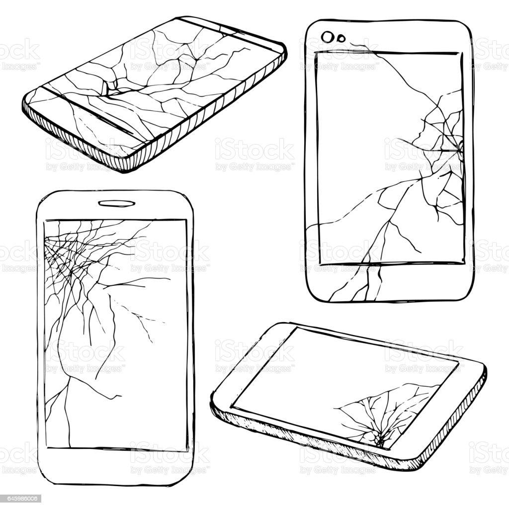 Cracked screen display. Sketch of different broken phones, smartphones. Hand made vector illustration vector art illustration