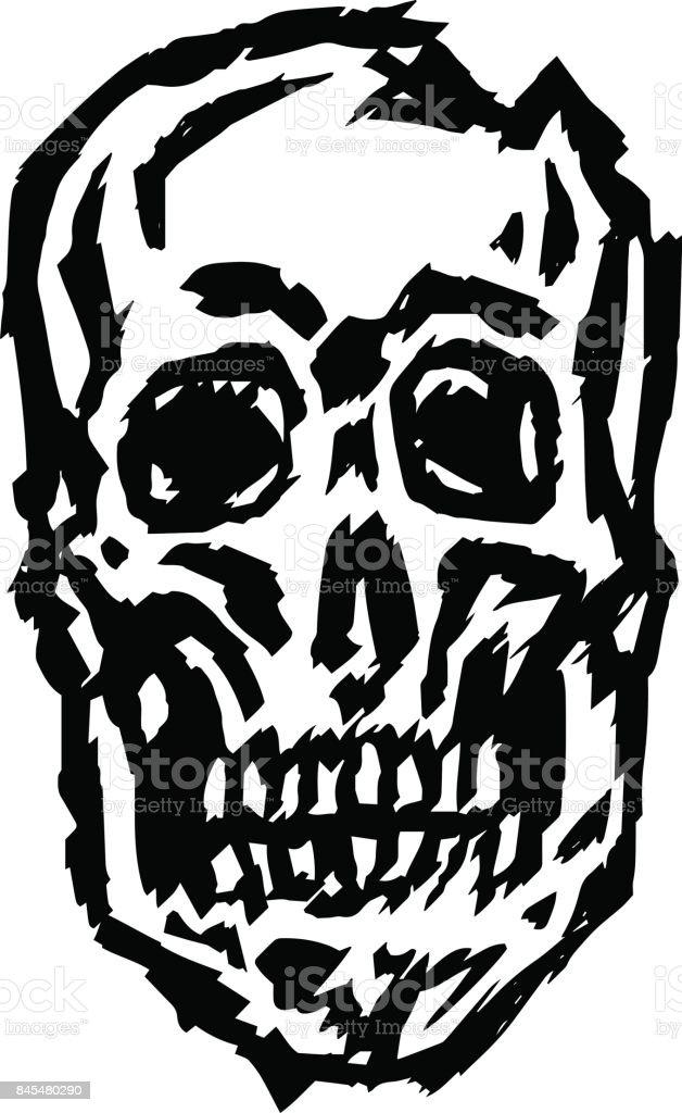 Cracked spooky skull vector illustration. Genre of horror. vector art illustration