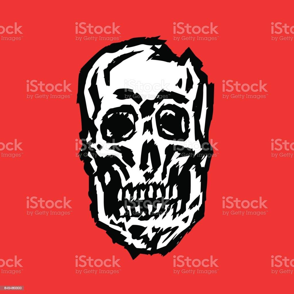 Cracked spooky skull vector illustration. vector art illustration