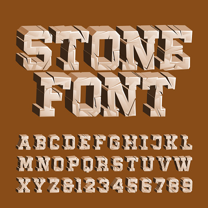 Cracked stone alphabet font. 3D damaged letters and numbers.