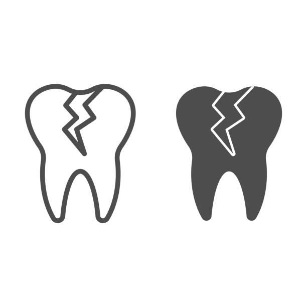 stockillustraties, clipart, cartoons en iconen met gebarsten tandlijn en stevig pictogram. cariëninfectie beïnvloed, tandprobleemsymbool, overzichtsstijlpictogram op witte achtergrond. tandheelkunde teken voor mobiel concept of webontwerp. vectorafbeeldingen. - streptococcus mutans