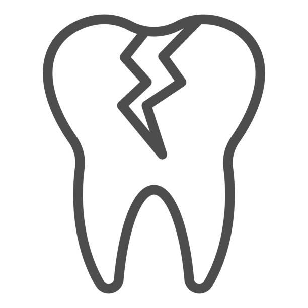 stockillustraties, clipart, cartoons en iconen met gebarsten tandlijnpictogram. cariëninfectie beïnvloed, tandprobleemsymbool, overzichtsstijlpictogram op witte achtergrond. tandheelkunde teken voor mobiel concept of webontwerp. vectorafbeeldingen. - streptococcus mutans