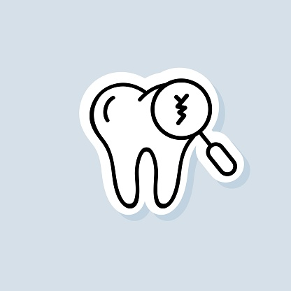 Cracked tooth sticker. Dental and medicine. Caring for teeth, broken teeth and cavities. Vector on isolated background. EPS 10