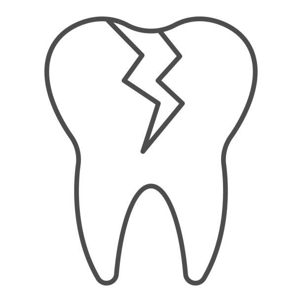 stockillustraties, clipart, cartoons en iconen met gebarsten tand dunne lijn pictogram. cariëninfectie beïnvloed, tandprobleemsymbool, overzichtsstijlpictogram op witte achtergrond. tandheelkunde teken voor mobiel concept of webontwerp. vectorafbeeldingen. - streptococcus mutans