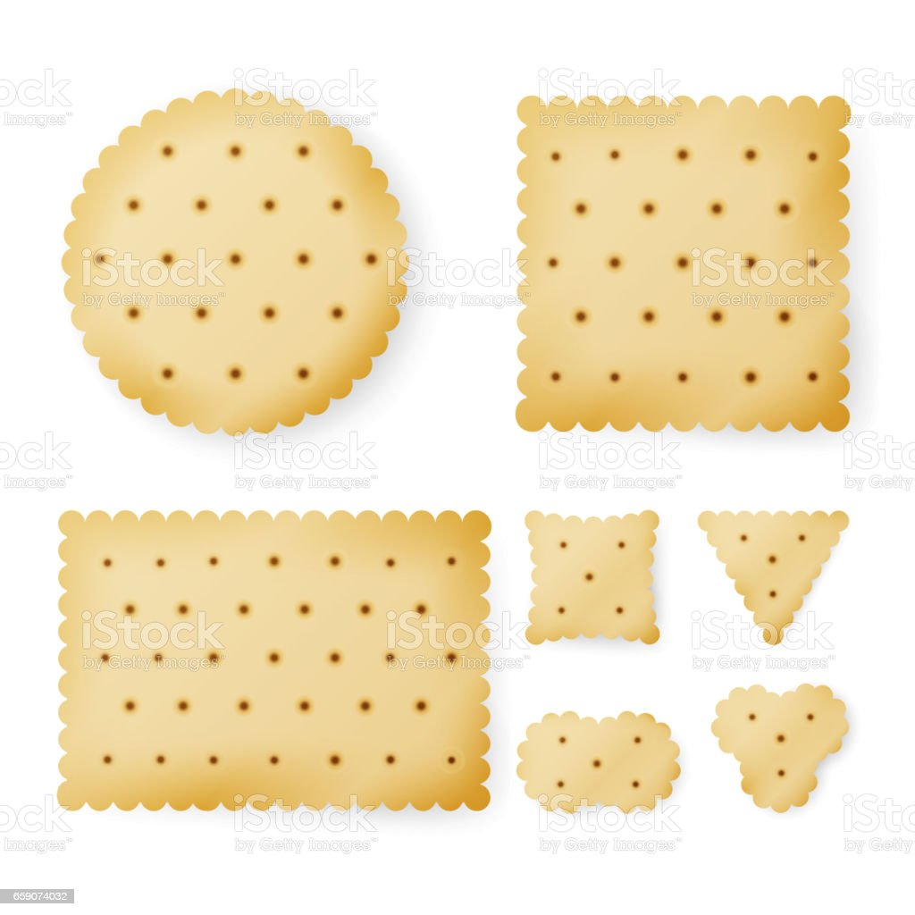 Cracker In Different Shapes. Yellow Cookie Vector vector art illustration