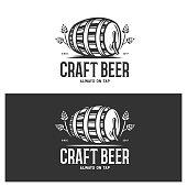 Craft beer always on tap monochrome emblem. Beer barrel with hop branches. Beer pub advertising. Vector vintage illustration.