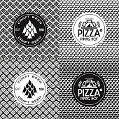 Craft beer and pizza seamless patterns and labels