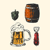 Creative beer set with mug, bottle, wheat and hop elements. Vector illustration. Hand drawing graphic objects used for advertising festival, beverage, brewery, bar and pub menu.