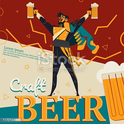 Craft beer vector illustration of retro advertisement poster for bar or pub with revolutionary concept. Cartoon vintage design of grenadier or revolution soldier man with beer mug in raised hand