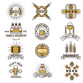 Vintage craft beer retro design elements, emblems, symbols, vector icons, pub labels, badges collection. Business signs template logo brewery identity concept.